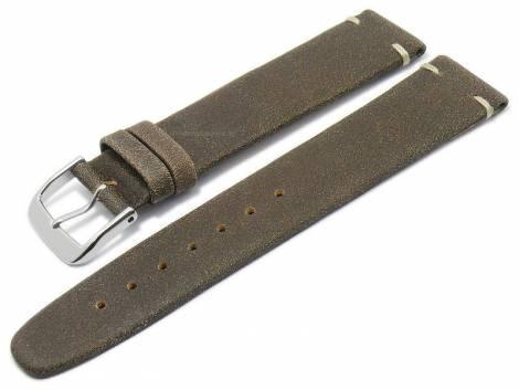 Deluxe-Watch strap 21mm dark brown HORWEEN ROADMASTER leather KUKI-FLEX light stitching by KUKI (width of buckle 18 mm) - Bild vergrößern