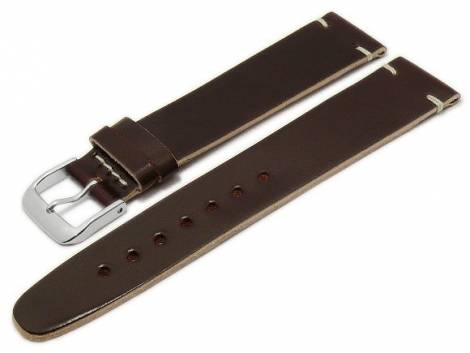 Deluxe-Watch strap 21mm dark brown HORWEEN SHELL CORDOVAN leather smooth light stitching by KUKI (width of buckle 18 mm) - Bild vergrößern