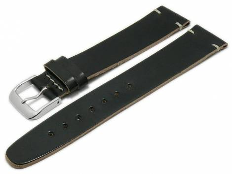 Deluxe-Watch strap 19mm black HORWEEN SHELL CORDOVAN leather smooth light stitching by KUKI (width of buckle 16 mm) - Bild vergrößern