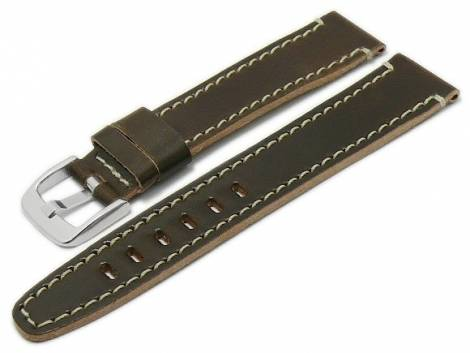 Deluxe-Watch strap 20mm dark brown HORWEEN SHELL CORDOVAN leather light stitching by KUKI (width of buckle 18 mm) - Bild vergrößern