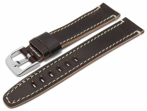 Deluxe-Watch strap 20mm red brown HORWEEN SHELL CORDOVAN leather light stitching by KUKI (width of buckle 18 mm) - Bild vergrößern