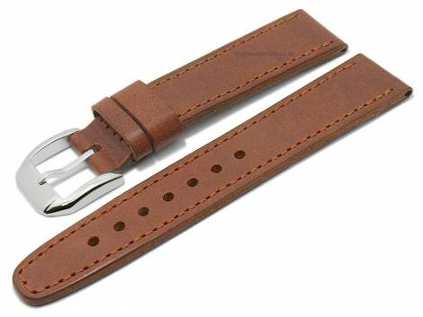 Deluxe-Watch strap 21mm brown HORWEEN NANTUCKET leather vegetable tanned by KUKI (width of buckle 18 mm) - Bild vergrößern