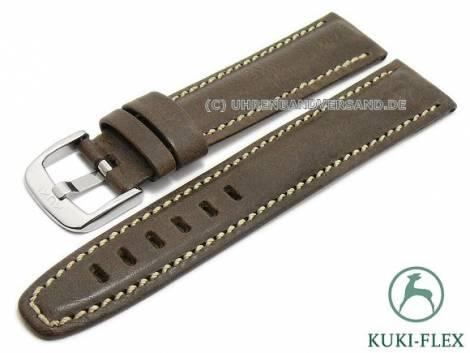 Watch strap 19mm dark brown leather KUKI-FLEX Patent vintage look by KUKI (width of buckle 18 mm) - Bild vergrößern