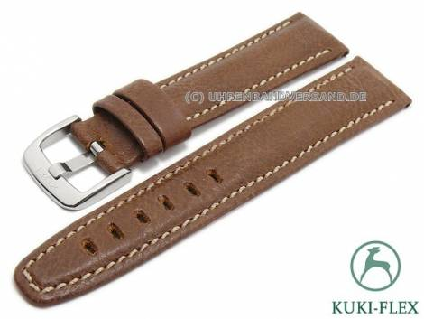 Watch strap 23mm light brown leather KUKI-FLEX Patent vintage look by KUKI (width of buckle 20 mm) - Bild vergrößern