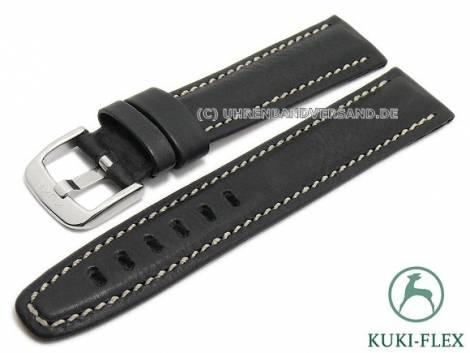 Watch strap 20mm black leather KUKI-FLEX Patent vintage look by KUKI (width of buckle 18 mm) - Bild vergrößern