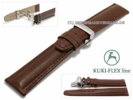Watch strap 23mm dark brown leather KUKI-FLEX Patent with clasp by KUKI (width of clasp 20 mm) - Bild vergrößern