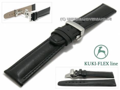 Watch strap 24mm black leather KUKI-FLEX Patent with clasp by KUKI (width of clasp 20 mm) - Bild vergrößern