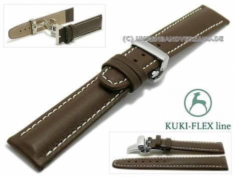 Watch strap 21mm dark brown leather KUKI-FLEX Patent light stitching with clasp by KUKI (width of clasp 18 mm) - Bild vergrößern