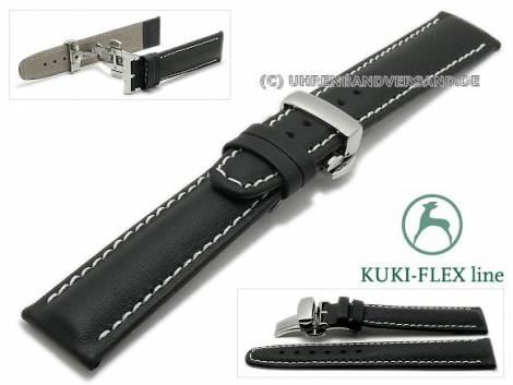 Watch strap 24mm black leather KUKI-FLEX Patent light stitching with clasp by KUKI (width of clasp 20 mm) - Bild vergrößern