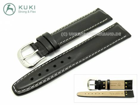 Watch strap 20mm black contrast stitching with STRONG & FLEX by KUKI (width of buckle 18 mm) - Bild vergrößern