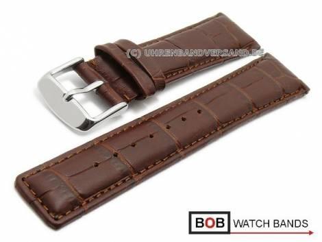 Watch band 20mm dark brown alligator grain stitched by BOB (width of buckle 18 mm) - Bild vergrößern