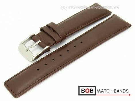 Watch band 20mm dark brown smooth surface stitched by BOB (width of buckle 18 mm) - Bild vergrößern