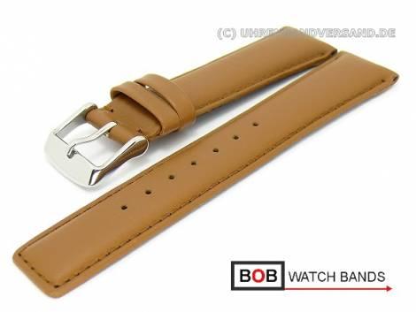 Watch band 20mm brown smooth surface  stitched by BOB (width of buckle 18 mm) - Bild vergrößern