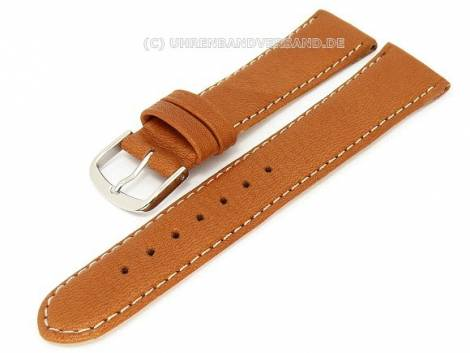 Watch band -Eco- 18mm light brown natural leather light colored stitching by BECO (width of buckle 16 mm) - Bild vergrößern