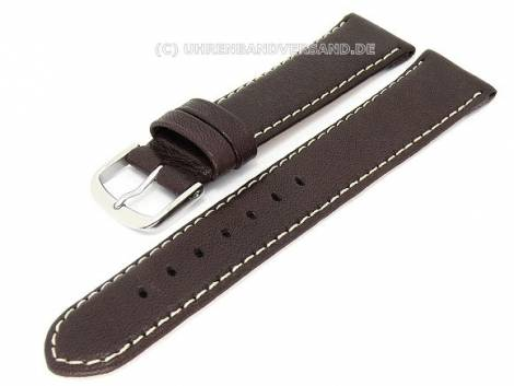 Watch band -Eco- 24mm dark brown natural leather light colored stitching by BECO (width of buckle 22 mm) - Bild vergrößern