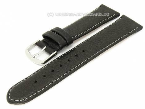 Watch band 20mm black Birkenstock -Eco- light colored stitching (width of buckle 18 mm) - Bild vergrößern