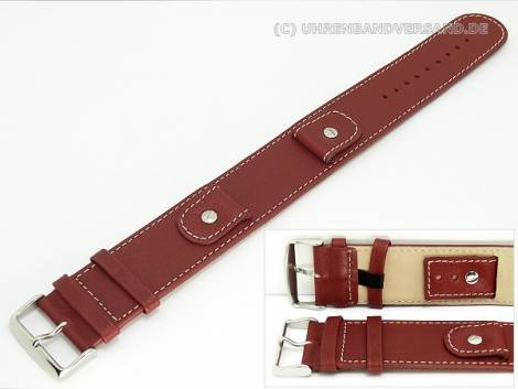 Watch band -Cliffhanger- 24mm dark red leather pad contrast stitching - Bild vergrößern