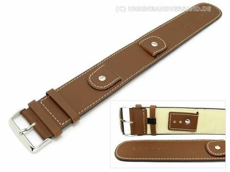 Watch strap -Cliffhanger- 32mm brown leather smooth light stitching with leather pad - Bild vergrößern