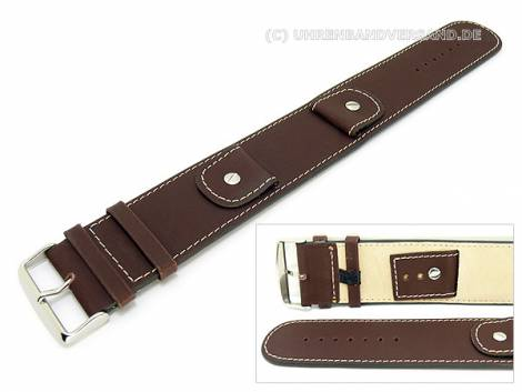 Watch band -Cliffhanger- 20mm dark brown leather pad contrast stitching - Bild vergrößern
