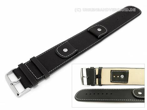 Watch strap -Cliffhanger- 30mm black leather smooth light stitching with leather pad - Bild vergrößern