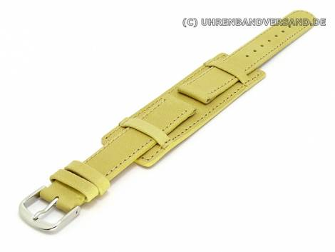 Watch band 16mm light brown / beige with leather pad smooth surface (width of buckle 16 mm) - Bild vergrößern