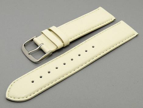 Watch band leather creme with seam 18mm (width of buckle 18 mm) - Bild vergrößern