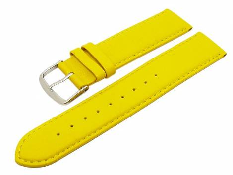 Watch band leather yellow with seam XL 22mm (width of buckle 20 mm) - Bild vergrößern