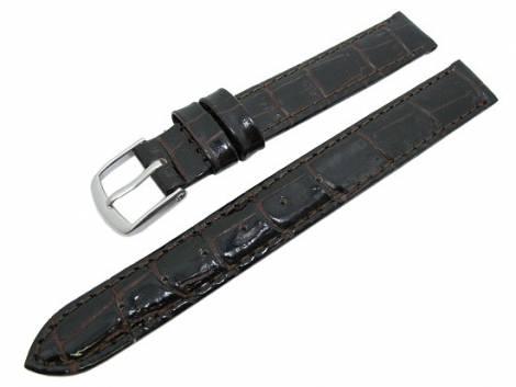 Watch band XL 12mm dark brown alligator grain (width of buckle 12 mm) - Bild vergrößern