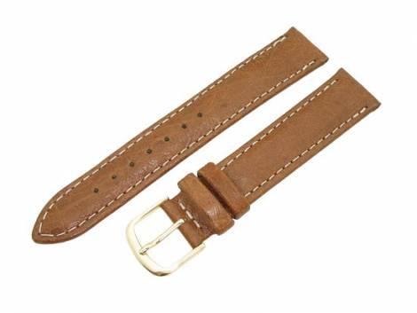 Watch band 16mm light brown genuine ostrich without/few quills by EULIT (width of buckle 14 mm) - Bild vergrößern