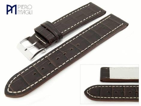 Watch band -Louisiana PNR Style- 20mm dark brown alligator grain Piero Magli (width of buckle 20 mm) - Bild vergrößern