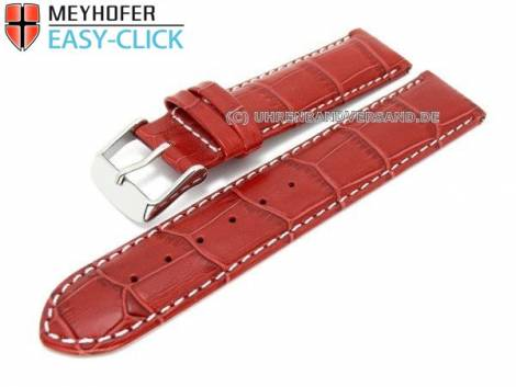 Watch band Meyhofer EASY-CLICK -Marseille- 16mm red alligator grain white stitching (width of buckle 16 mm) - Bild vergrößern