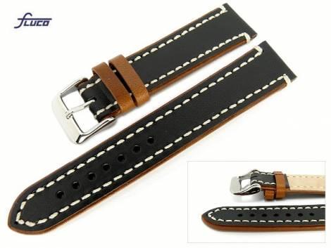Watch band -Delta-  20mm black/brown smooth surface white stitching by Fluco (width of buckle 18 mm) - Bild vergrößern