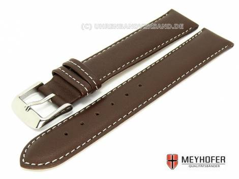 Watch band -Augsburg- 17mm dark brown XL smooth surface light colored stitching by MEYHOFER - Bild vergrößern