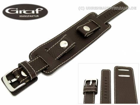 Watch band -Spartakus- 18mm dark brown grained with leather padding by Graf (width of buckle 18 mm) - Bild vergrößern