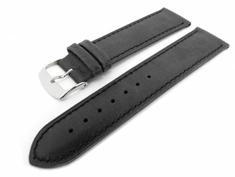 Watch band 24mm black soft calf slight antique look - Bild vergrößern