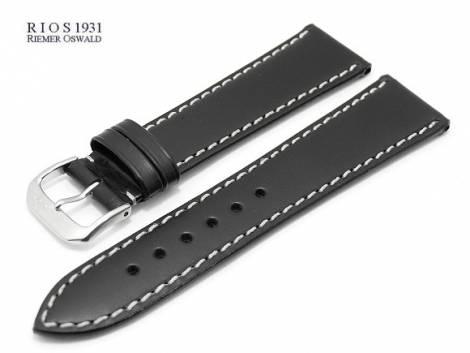 Watch band -Pensa- 20mm black by RIOS Juchten leather vegetable tanned white stitching (width of buckle 18 mm) - Bild vergrößern