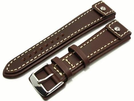 Watch band 20mm dark brown white seam CHRONO EXTREME - Bild vergrößern