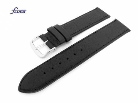 Watch band -Pig- 16mm black pig leather grained surface by Fluco (width of buckle 14 mm) - Bild vergrößern