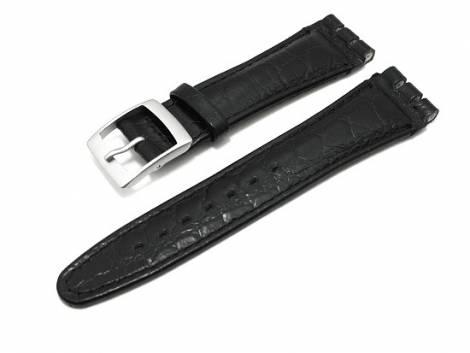 Watch band for Swatch 19mm black Croco stitched - Bild vergrößern