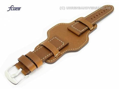Watch band 26mm brown aviator style robust light colored stitching with asymmetric leather pad - Bild vergrößern