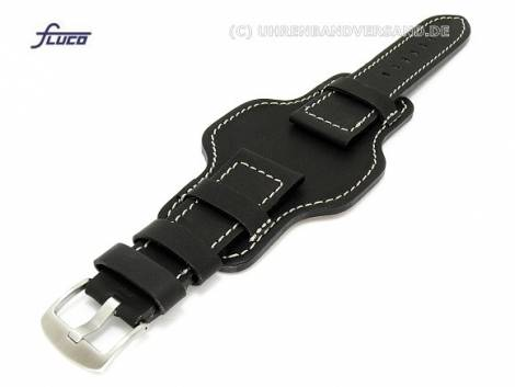 Watch band 22mm black aviator style robust light colored stitching with asymmetric leather pad - Bild vergrößern