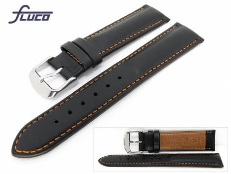 Watch band -Chrono Rondo- 20mm black smooth surface orange stitching Fluco (width of buckle 18 mm) - Bild vergrößern