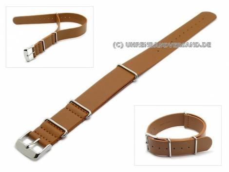 Watch band 20mm brown NATO style one-piece band smooth surface - Bild vergrößern