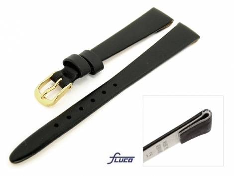Watch band -Diamond- 10mm for fixed bars black smooth surface by Fluco (width of buckle 08 mm) - Bild vergrößern