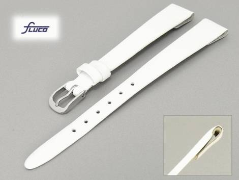 Watch band -Diamond- 08mm for fixed bars white smooth surface by Fluco (width of buckle 08 mm) - Bild vergrößern