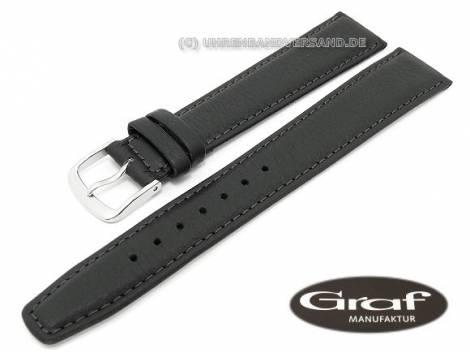 Watch band -Toledo- 17mm black XL grained surface by Graf (width of buckle 16 mm) - Bild vergrößern