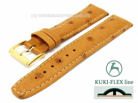 Watch strap 21mm light brown genuine Ostrich with Kuki Flex-Patent stitched KUKI (width of buckle 18 mm) - Bild vergrößern