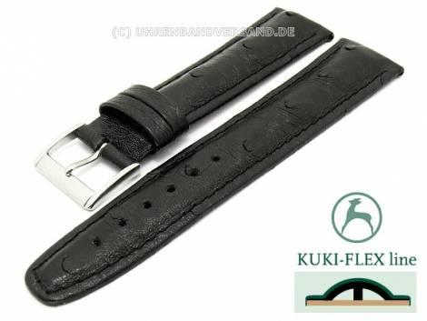 Watch strap 21mm black genuine Ostrich with Kuki Flex-Patent stitched KUKI (width of buckle 18 mm) - Bild vergrößern