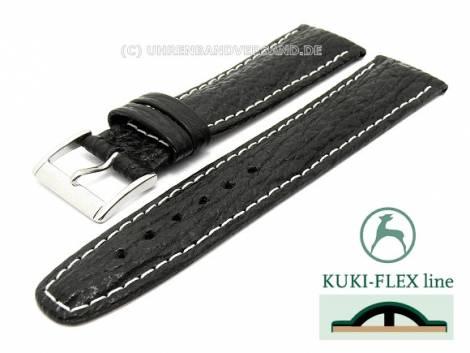 Watch strap 20mm black genuine Shark with Kuki Flex-Patent by KUKI (width of buckle 18 mm) - Bild vergrößern