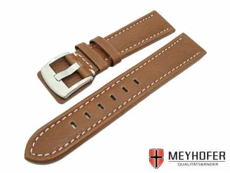 Watch band -Berlin- 22mm brown grained surface white stitching by MEYHOFER (width of buckle 20 mm) - Bild vergrößern
